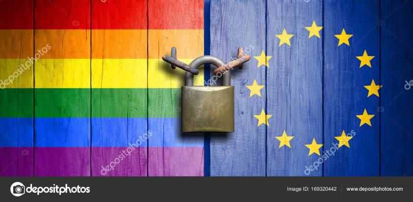 Rainbow flag and European Union flag on wooden door with padlock. 3d illustration